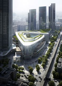 Located on Jinghan Avenue in the bustling Qiaokou District, the commercial and… Architecture Visualization, Commercial Architecture, Futuristic Architecture, Facade Architecture, Landscape Architecture, Chinese Architecture, Future Buildings, Modern Buildings, Office Buildings