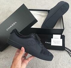 All black Chanel sneaker 🖤 Cop or drop? ------------------------------------------------- 🆘Don't forget to turn on your notification 🆘 . Chanel Sneakers, Chanel Shoes, Sneakers Fashion, Fashion Shoes, Shoes Sneakers, Shoes Heels, Mens Fashion, Chanel Fashion, Black Sneakers