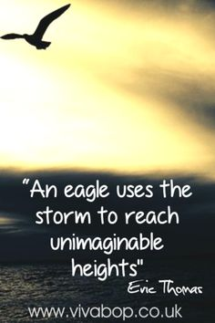 "Inspirational Quotes - ""An eagle uses the storm to reach unimaginable heights."" - Eric Thomas"