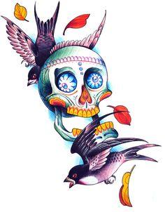 Very nice sugar skull with swallows by Bob Queiroz Brazilian artist.