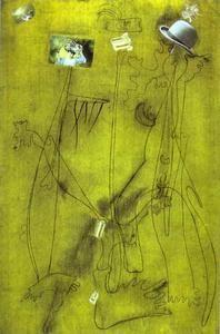 Dessin-collage avec un chapeau - (Joan Miro)