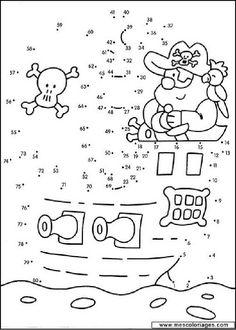 Actividades para imprimir Une los puntos por orden y pinta 7