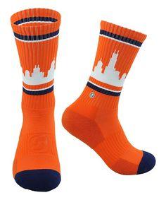 Orange & White Chicago Skyline Socks