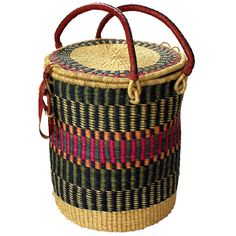 African Laundry Basket with Lid