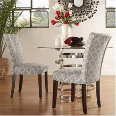 Chelsea Lane Espresso Parson Chair , Set of 2, Multiple Colors, Gray