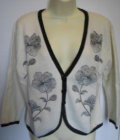 BNWT Cream Silk / Angora Hand Embroidered Bolero / Cardigan Size 18