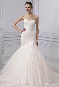 Brides: Monique Lhuillier. Sweetheart neckline draped trumpet gown with full circular skirt.��More Details From Monique Lhuillier