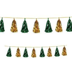 Gold and Green Metallic Tassel Garland - Tassel Garland, Tassels, Party Packs, Mardi Gras, St Patricks Day, Fancy Dress, Party Supplies, Irish, Balloons
