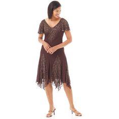 1920s Inspired J Kara Godet Flutter Sleeve Hanky Dress $104