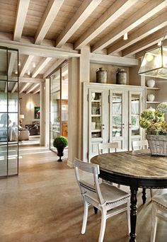 My ideal home — pale wood French Country Kitchens, French Country Style, French Country Decorating, French Kitchen, French Chic, Casa Pizza, Interior Sliding Glass Doors, Sliding Doors, Interior Doors