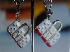 Beautiful Handbag Purse White & Gold Dangle Earrings CZ Accents FREE SHIPPING #DropDangle