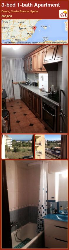 Apartment for Sale in Denia, Costa Blanca, Spain with 3 bedrooms, 1 bathroom - A Spanish Life Murcia, Apartments For Sale, Malaga, Spain, Kitchen Cabinets, Flooring, Bathroom, Bed, House