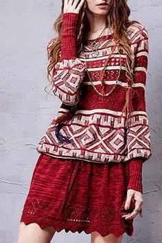 A Line Long Sleeve Red Sweater Dress   ZAFUL