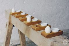 Egg cup OTTO of oiled oak with a white ceramic bowl Egg Packaging, Wood Carving, Tea Lights, Triangle, Candles, Etsy, Whisky, Design, Ideas