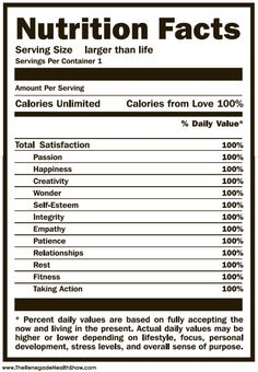 Total Satisfaction Nutrition Facts Percent Daily Values Are Based On Fully Accepting The Now And Living In Present Actual May Be Higher