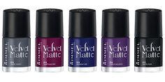 Velvet Matte Nail Collection Rimmel: Velvet Touch n°013 - Sumptuous Red n°014 - Midnight Kiss n°015 - Purple Opulence n°016 - Matte-itude n°...