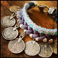 Hand Dyed Jersey Coin Bracelet Boho Coin by JerseyFeatherheads, $28.00