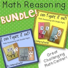 I Can Figure It Out! Math Reasoning Single and Double-Digit Numbers Bundle Great Center Activity to get your kiddos thinking! Print on colored paper to make this center look great! Laminate and cut out and you are all set!