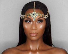 Neveah Goddess Hair Jewelry Glamorous Golden Head Piece Placed in desired area of hair with 3 golden hooks Select clear stone or gold stone Pigtail Hairstyles, Bobby Pin Hairstyles, Goddess Hairstyles, Party Hairstyles, Scarf Hairstyles, Wedding Hairstyles, Bridal Headdress, Headpiece Jewelry, Head Jewelry