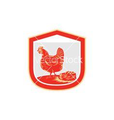 Hen chicken nest egg shield retro vector