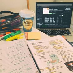 medicine-caffeine: 3 Jun || 12:53pm || Last-minute study = Good notes + Colour pens + Great coffee + Awesome music