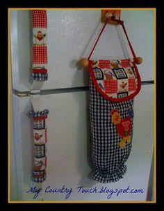 for inspiration - grocery bag holder and fabric fridge door handles Plastic Bag Dispenser, Plastic Bag Holders, Fabric Crafts, Sewing Crafts, Sewing Projects, Fridge Handle Covers, Grocery Bag Holder, Sewing Hacks, Diy And Crafts