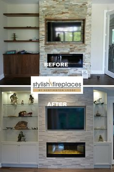 #Fireplace wall by Stylish Fireplaces. Silver Fox strips by Erthcoverings. Custom cabinetry with lighting to highlight Inuit art collection. Dimplex BLF50 electric fireplace.