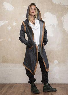 USKO - Hooded long-Sleeve Cotton Denim Stretch Ninja Assassin Jacket Drop Crotch Shorts, Low Crotch Pants, Cape Jacket, Bomber Jacket, Long Denim Jacket, Burnt Orange, Hoods, Lance Mcclain, Capes