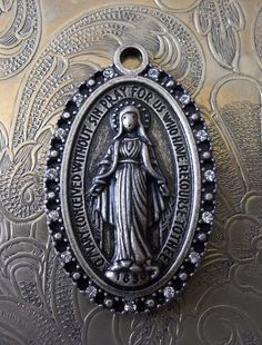Large & Thick Brass Miraculous Medal Of The Immaculate Conception 1830 Blessed Virgin Mary Mother Of God, With Rhinestone Embellishments Big