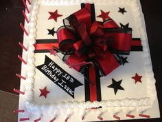 Red and black present cake