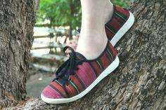 Womens Sneaker Shoe In Tribal Handwoven Naga Textiles, Vegan Trainers - Jamie