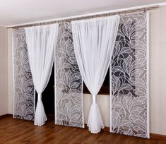 Firana Komplet na Balkon 3 panele+kokony 7051718981 - Allegro. Sliding Curtains, Diy Curtains, Hanging Curtains, Curtains With Blinds, Diy Living Room Decor, Living Room Furniture Arrangement, Bedroom Decor, Home Decor, Balcony Grill Design