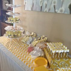 Yellow and grey chevron baby shower