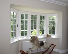 Flush casement windows finished in Off-White. Triple set of matching dummy sashes in the middle. Manufactured in Engineered European Redwood. Timber Windows, Casement Windows, Sash Windows, Traditional Windows, Window Design, Living Room, Modern, Middle, House