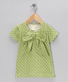 Green Honeycomb Bow Organic Tee - Infant, Toddler & Girls
