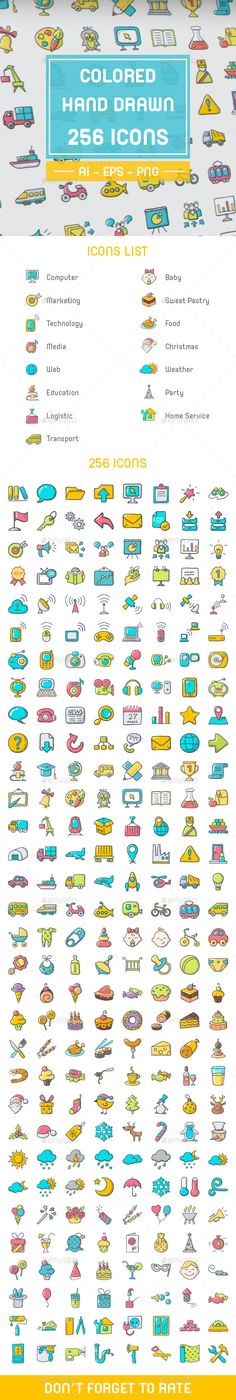 Colored Hand Drawn Icon Set Template #design Download: http://graphicriver.net/item/colored-hand-drawn-icon-set/12208741?ref=ksioks