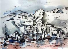 LAURA CLIMENT Elefantes junto a una charca. Tinta. Mount Rushmore, Mountains, Nature, Painting, Animals, Black, Art, Alone Photography, Elephants