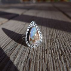 Hand Stamped Boulder Opal Ring by TuwaJewellery on Etsy, £105.00