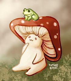 Cute Little Drawings, Mini Drawings, Kawaii Drawings, Art Drawings Sketches, Animal Drawings, Kawaii Icons, Kawaii Art, Mushroom Drawing, Mushroom Art