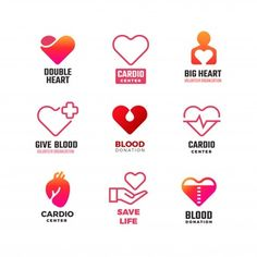 Stock Vector: Cardiology and blood donation vector medical logos. Blood medical logo with red heart illustration - Medicine Logo, Banners, Health Icon, Nurse Art, Heart Day, Hand Heart, Medical Icon, Heart Illustration, Blood Donation