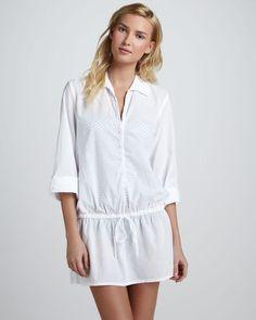 d4db313289 Splendid Drawstring Buttondown Tunic White - Lyst Vestidos De Playa