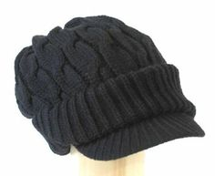 Amazon.com: AJP100_BLK Newsboy Jeep knitted hat with short cute trendy visor winter warm for women: Clothing