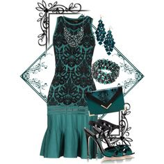 """Teal and Black"" by jlg8503 on Polyvore"
