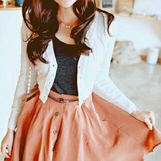 Salmon skirt, nod grey top.