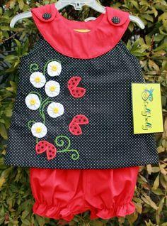 Flowers & ladybugs applique