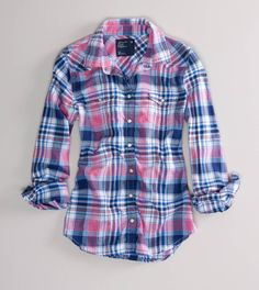 bf7dc66f8b9c25 AE Shrunken Western Flannel Shirt $39.50 Flannel Outfits Summer, Flannel  Shirt Outfit, Plaid Flannel