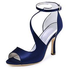 ElegantPark HP1565 Donna Peep Toe Sandali Tacco A Spillo Fibbia Raso Ballo Sposa Partito Scarpe Blu Marina EU 35