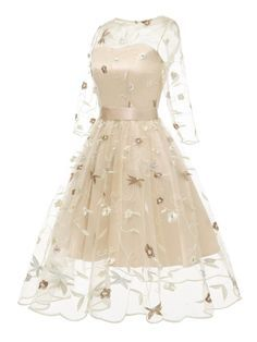: 3 4 Sleeve Floral Embroidery Dress 3 4 Sleeve Floral Embroidery Dress – Retro Stage Chic Vintage Dresses and Accessories Cute Prom Dresses, Elegant Dresses, Homecoming Dresses, Pretty Dresses, Beautiful Dresses, Maxi Dresses, 1950s Dresses, Casual Dresses, Flapper Dresses