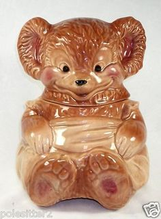 Vintage 1950's Brush McCoy Pottery Teddy Bear Cookie Jar O14 USA