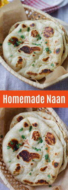 - easy homemade naan recipe using a cast-iron skillet. Soft, puffy, with beautiful brown blisters just like Indian restaurants. Making naan is easy with this step-by-step recipe and video. Homemade Naan Bread, Recipes With Naan Bread, Nann Bread Recipe, Garlic Naan Bread Recipe, Easy Naan Recipe, Roti Recipe, Iron Skillet Recipes, Cast Iron Recipes, Cast Iron Skillet
